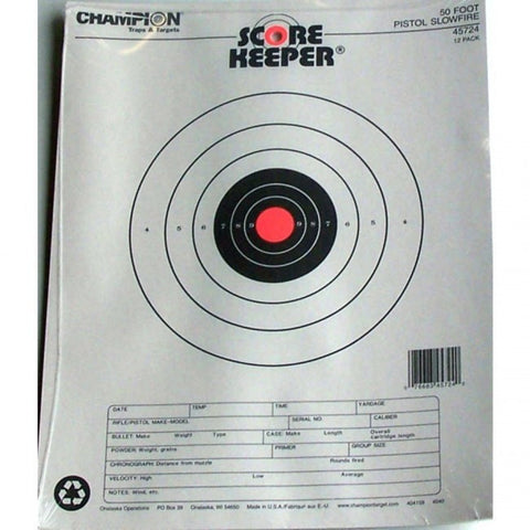 Champion Scorekeeper 50 Ft. Pistol Targets Slow Fire - Goodland Guns
