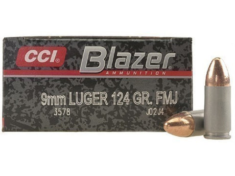 CCI Blazer - 9mm - FMJ - 124 GR - 50 Rds/box - Goodland Guns