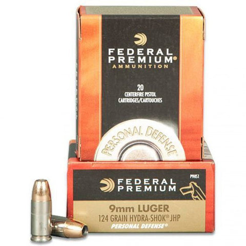 Federal Premium 9mm - 124 GR - Hydra-Shok JHP - 20 Rds/box - Goodland Guns