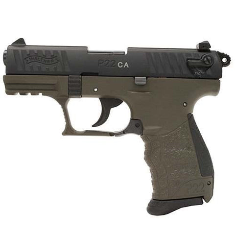 "Walther P22 - 22LR - 10+1 - 3.4"" - OD Green - CA - Goodland Guns"