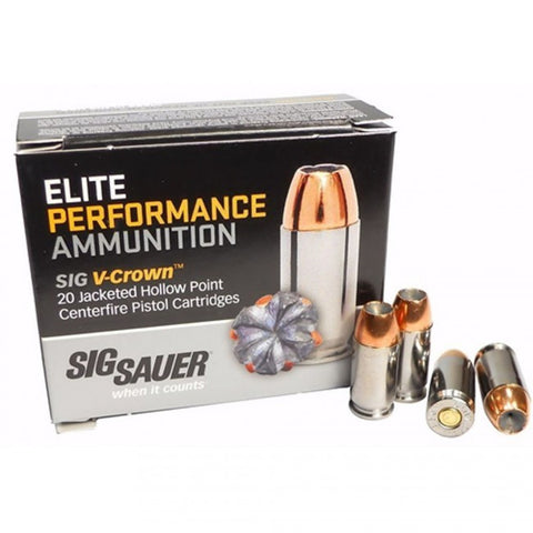 Sig Sauer - Elite Performance Ammunition - 9MM - 124 GR - V-Crown JHP - 20 Rds/box