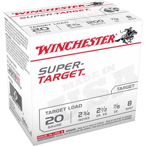 Winchester Super-Target - 20 GA - 7/8 oz - #8 - 25 Rds/box - Goodland Guns