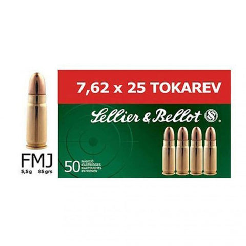 Sellier & Bellot - 7.62x25mm Tokarev - 85GR - FMJ - 50 Rds/box - Goodland Guns