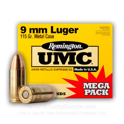 Remington UMC - 9mm - 115 GR - FMJ - 250 Rds/box - Goodland Guns