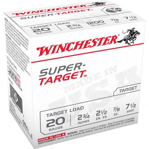 Winchester Super-Target 20 GA - 7/8 oz - #7.5 - 25 Rds/box - Goodland Guns