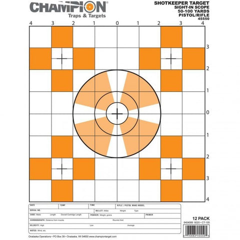 Champion SHOTKEEPER Sight In Scope Target - Small - 12PK - Goodland Guns