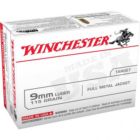 Winchester - 9mm - 115 GR - FMJ - 100 Rds/box - Goodland Guns