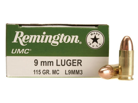 Remington UMC - 9mm - 115 GR - FMJ - 50 Rds/box - Goodland Guns