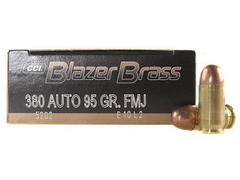 CCI Blazer Brass - .380 ACP - FMJ - 50 Rds/box - Goodland Guns