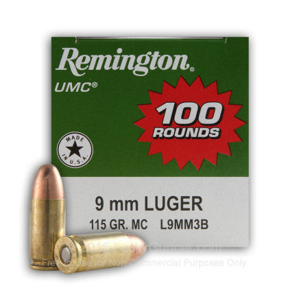 Remington UMC - 9mm - 115 GR - FMJ - 100 Rds/box - Goodland Guns