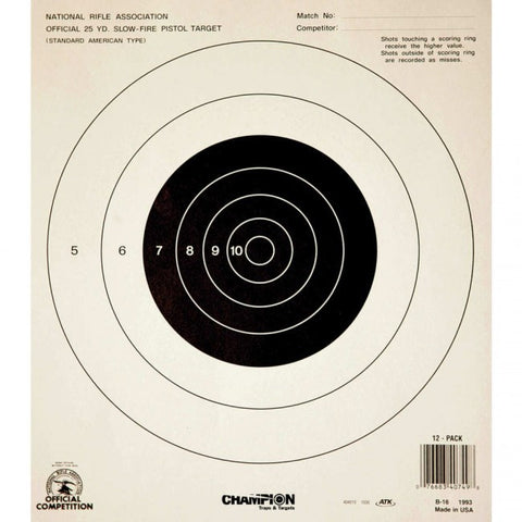 Champion NRA Pistol Targets 25 Yd.Slow Fire - Goodland Guns