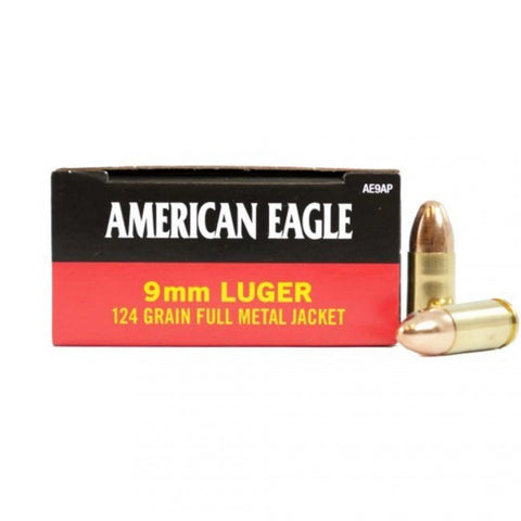 Federal American Eagle - 9mm - 124 GR - FMJ - 50 Rds/box