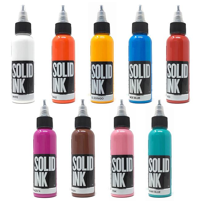 Available at True Tattoo Supply. PROFESSIONAL TATTOO PIGMENTS FROM ARTIST TO ARTIST Made in the USA You won't be disappointed by the wide array of pigments by Solid Ink available at True Tattoo Supply. With signature lines from renowned artists like Chris Garver and Horitomo.