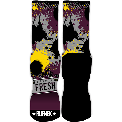 Rufnek Hardware Stupid Fresh Bordeaux 7's Socks