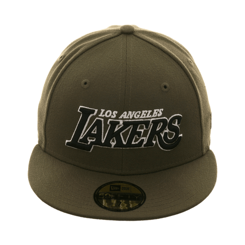 501e7275ca5867 Exclusive New Era 59Fifty Los Angeles Lakers Word Hat - Olive, Black, White