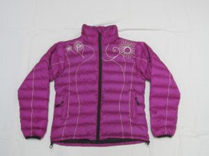 Women's magenta-coloured down jacket with flowery embroidery spread out against a white background