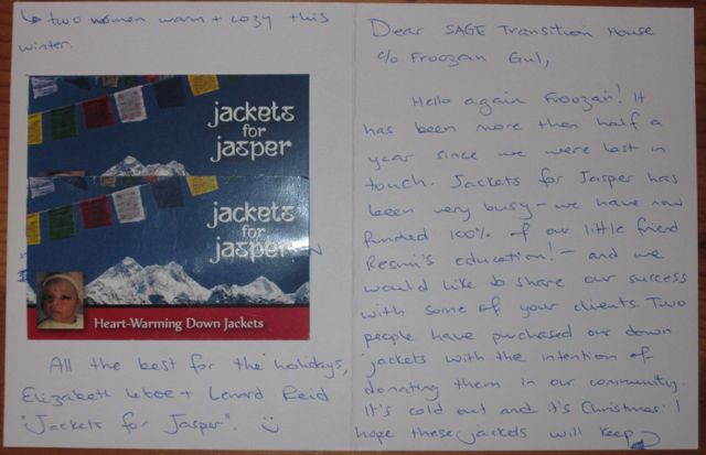Our card explaining how these jackets came to be donated and exactly who donated them (hidden).