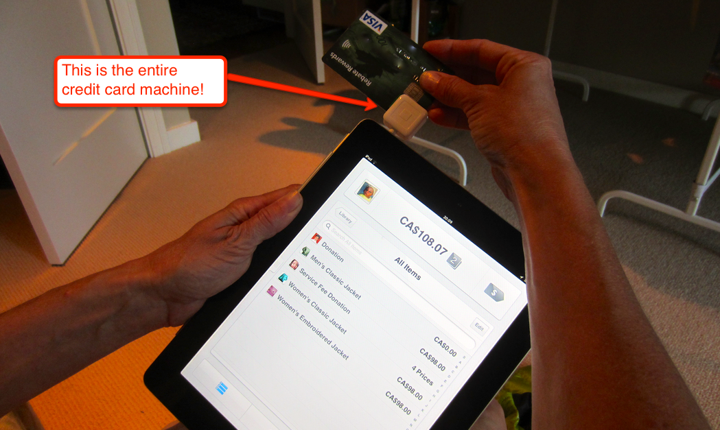 "Using the ""square.ca"" credit card reader with iPad"