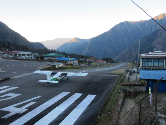 Plane ready for takeoff on the incredibly short Lukla runway