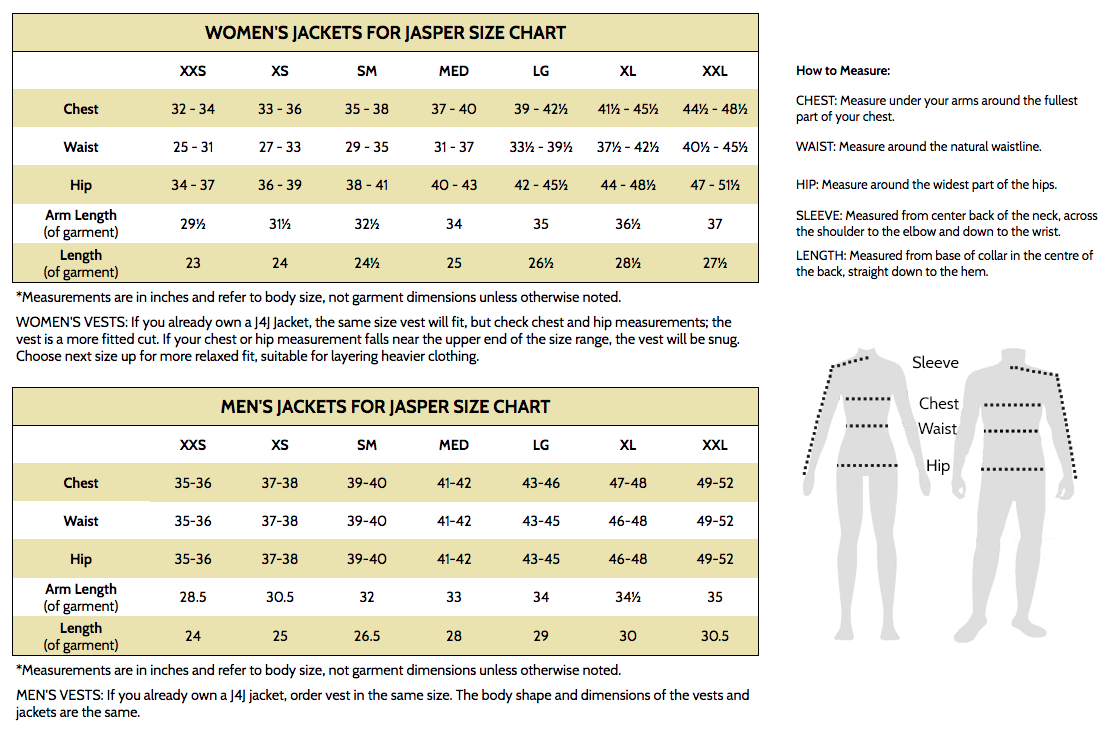 Sizing chart for 2015/16 season jackets