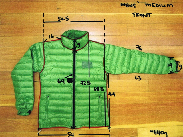 Men's jacket photo marked up with measurements