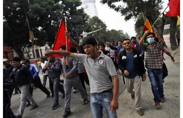 Supporters of the maoist alliance called for general strikes from September through November leading up to the election. (Photo credit: AP/Niranjan Shrestha)