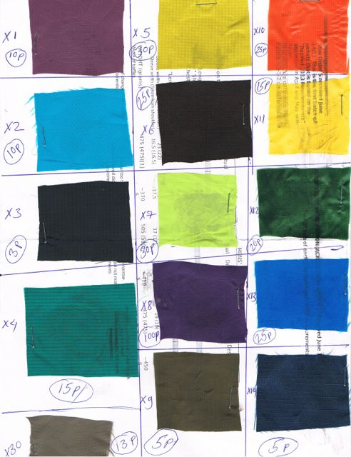 A sample of swatches and quantities available