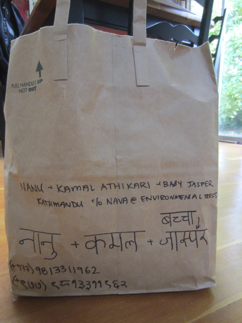 Package for Kamal and Nanu with addresses in Nepali and English