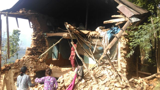 Santosh's damaged home