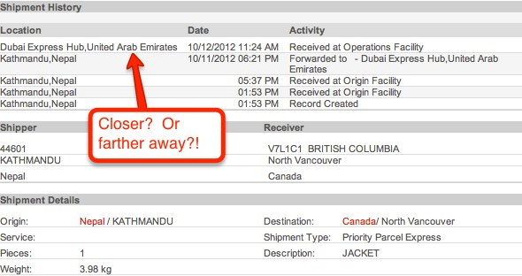 Tracking page for shipping company with details of our parcel's voyage through the middle east
