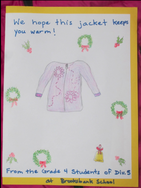 Card hand-drawn by Grade 4 students for the recipient of the donated jacket.