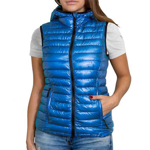 Shiny Royal Blue (Women's Vest Hoodie)