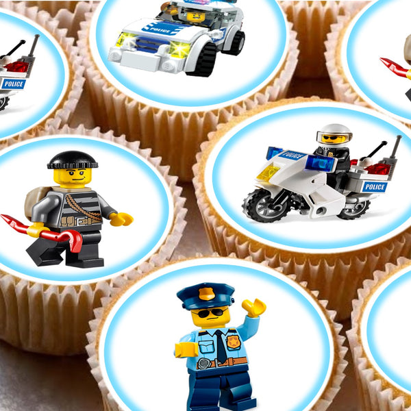 24 Lego city police Cake Toppers 4cm On wafer rice paper