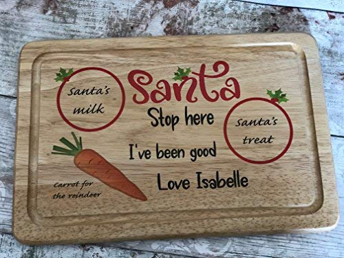 Print4you uk limited Santa Father Christmas Personalised cookie tray plate wooden board