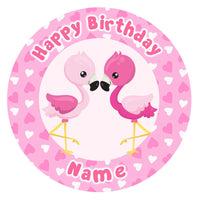 ND1 Flamingo tropical luau birthday Personalised Round Cake Topper approx 7.5