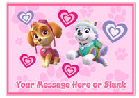 Paw Patrol Skye and Everest girls pink A4 Cake Topper (or smaller on request) on Icing