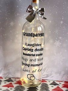 Grandparents laughter caring deeds wonderful stories hugs and laughter ...... light up wine bottle gift for grandparents
