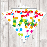 BP80 The Hungry caterpillar personalised bunting x 10 A5 Flags on tick glossy card with ribbon birthday party