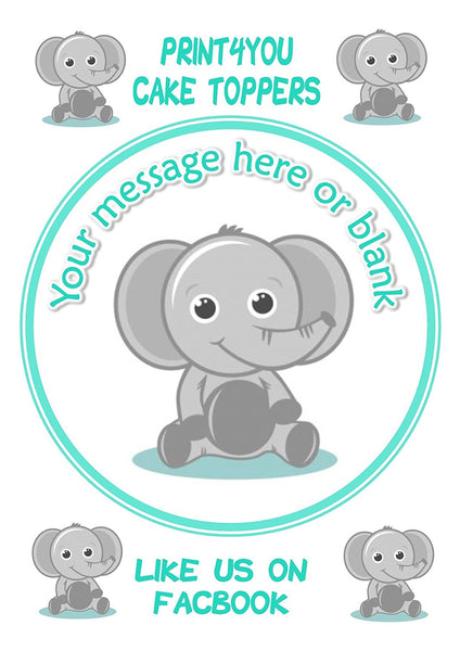 "ND2 Cute elephant baby shower birthday Personalised Round Cake Topper approx 7.5"" (or smaller on request) on Icing"