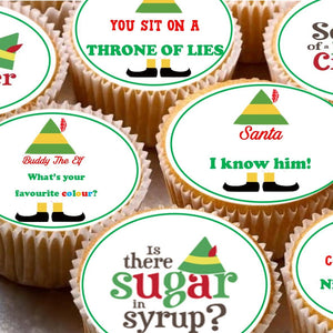24 Cake Toppers 4cm On Icing cupcake images - Buddy the elf movie film quote sayings