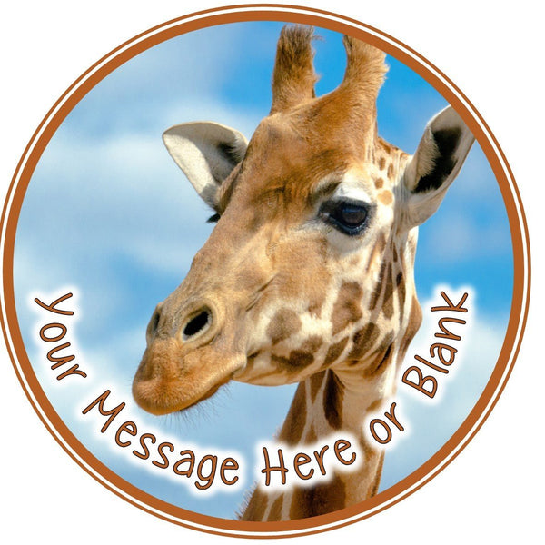 "ND2 giraffe girraffe girrafe birthday Personalised Round Cake Topper approx 7.5"" (or smaller on request) on Icing"