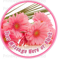 ND1 Pink Flower Gerbera - Birthday Personalised Round Cake Topper approx 7.5