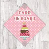 WS10 Cake On Board personalised Car Sign Sticker with suction cups - own design logo added