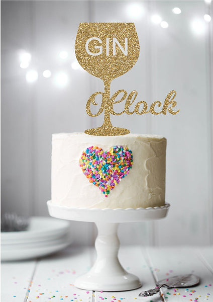 Print4you Gin O'Clock Glitter card standing cupcake cake toppers decoration