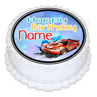 ND3 Hot wheels racing car birthday Personalised Round Cake Topper approx 7.5