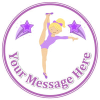 ND1 Blonde Lilac Gym Gymnastics dancer - Birthday Personalised Round Cake Topper approx 7.5