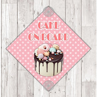 WS11 Cake On Board personalised Car Sign Sticker with suction cups - own design logo added