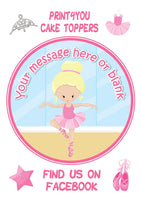 ND4 Ballerina blonde birthday Personalised Round Cake Topper approx 7.5