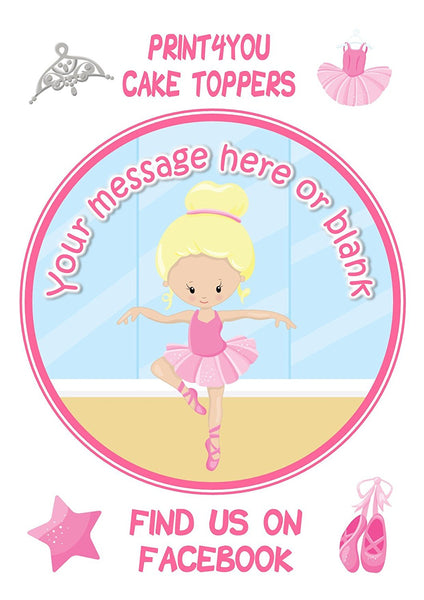 "ND4 Ballerina blonde birthday Personalised Round Cake Topper approx 7.5"" (or smaller on request) on Icing"