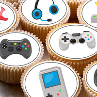 24 Cake Toppers 4cm On Icing cupcake images - gaming gamer games xbox PS DS
